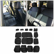 For 14-18 Chevrolet Silverado Lt Double Cab Black Leather Complete Seat Covers