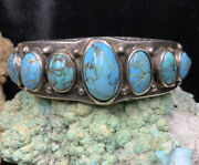 Old Pawn, 1920's Native American Sterling Silver And Turquoise Bracelet, 83.5g