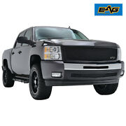 Eag Fit 07-13 Chevy Silverado 1500 Mesh Grille Black Stainless Steel W/abs Shell