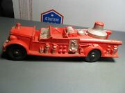 Vintage Made In Usa Toy 7 1/2 Long Soft Rubber Auburn Fd Red Fire Truck 500