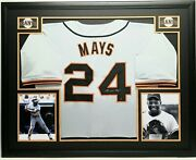 Willie Mays Signed Autographed Sf Giants Gray Jersey, Framed, Say Hey Coa