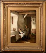 Feeding The Sister William Eadie Original Signed And Dated Oil/canvas Painting.