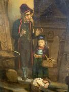 Family Scene Theodore Gerard Antique Framed Signed Oil Painting On Board.