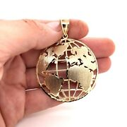 10k Solid Yellow Gold Round Globe Planet Earth World Map Pendant 2 12 Grams