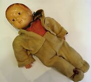 58cm Tall Antique Ultra Rare Old Toy 1900and039s Celluloid Straw Boy Doll Collection