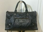 Authentic S/s 2009 Balenciaga Work Black Leather Classic Hardware Not City 457