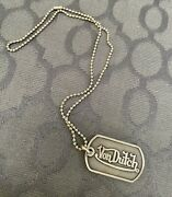 King Baby Sterling Silver Dog Tag Von Dutch Pendant Necklace Rare