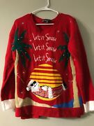 United States Sweaters Ugly Christmas Let It Snow Palm Trees Santa Size Medium