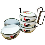 Enamelware Tiffin Lunch Box Tra Kai Lampang Thai Traditional Food Container