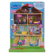 22-in Peppa Pig Doll House Lights Sounds Family Home Playset 13-pc Accessory Set
