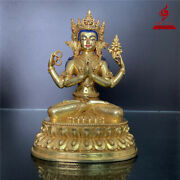 7and039and039 Nepal Tibet 4 Arms Chenrizig Buddha Copper Statue
