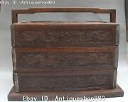 14 Chinese Wood Ancient Dragon Portable Pastry Box Lunch-box Case Boxes Statue