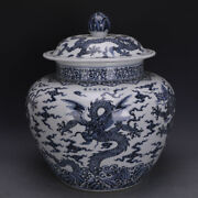 19.6 Antique Old China Porcelain Ming Dynasty Xuande Mark Blue White Dragon Pot