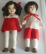 Vintage Bisque/porcelain Googly Eye Dolls Jointed Girl And Boy Painted Legs, Shoes
