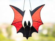 Stained Glass Window Hanging Bat Halloween Christmas Decorations Red Black