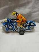Vintage Old Friction Litho Tin Toy Motor Rider Motorcycle Works