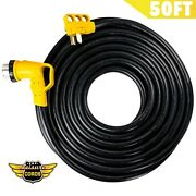 Leisure Cords 50and039 Ft 50amp 90-degree Twist Locking Heavy Duty Extension Cable