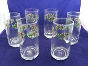 6-corelle Vintage Winter Holly Days Drinking Glasses Tumblers 6 T X 2 5/8 Td