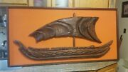 Vintage Hand Carved Wood Boat Framed Large Midcentury 60 X 30 Extremely Rare
