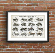 Bmw Motorcycles Evolution - The Blue, Art Sketch Poster [without Frame]