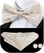Dubulle Mens Paisely Floral Bow Tie And Pocket Square With Cufflinks Set