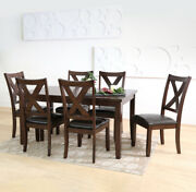 7-pc Dining Set Kitchen Wood Table Chairs Padded Seat Leather Cushions Espresso