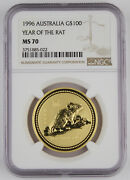 Australia 1996 1 Oz 9999 Gold 100 Year Of Rat Coin Ngc Ms70 Inauguration Date