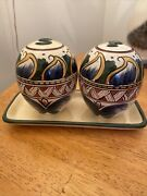 Deruta Of Italy Salt And Pepper Set Caddy Hand Painted Italy New