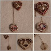 Vtg Pin Wotm Woman Of The Moose Loyal Order Of Red Heart. Gold Tone, Red Stone