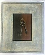 Buzzoni Italy Wood Framed Small Oil Painting Skeleton Keys Signed 10 X 12