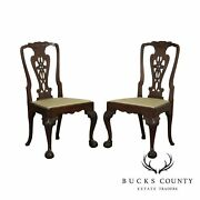 Antique Irish Georgian Carved Mahogany Set 4 Ball And Claw Dining Chairs