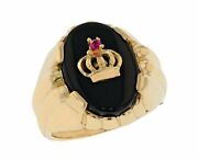 10k Or 14k Yellow Gold Mens Regal Crown On Onyx Unique Setting Heavy Ring
