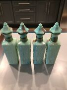 Vintage 1972 Empty Decanter Bottles Glass Jade Green 12 Inches Tall Set Of 4