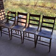 Antique Wooden Sturdy Dining Chairs 4 Pre-1920 Pick Up Only Kenosha Wi