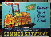 Original Del Monte 21x29 Advertising Poster 1958 Cool Art Of Showboat On River