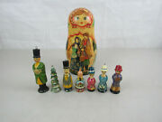 Vintage Russian Christmas Matryoshka Doll With 7 Ornaments Inside