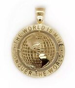 10k Yellow Gold Round Globe Planet Earth World Map Two Sided Pendant 1.46 11.7g