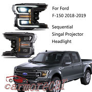 Dual Projector Headlights Drl/signal Led Tube Set Black For Ford F150 2018-2020