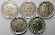 Sweden 1 Krona Lot 1937 1938 1939 1940 1941 Silver Coins Capsulated -investment