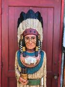 John Gallagher Carved Wooden Cigar Store Indian 5 Ft. Statue Buffalo Warrior