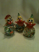 3 Large Vintage Murano Clown Paperweights