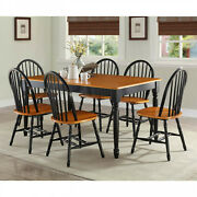Dining Room Table Set 7-piece Wood Kitchen Tables And Chairs Farmhouse Country