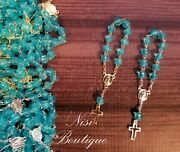 96 Pieces Of Mini Rosary Favors Turquoise / Gold Or Turquoise / Silver