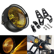 Us 6.5 Retro Motorcycle Headlight Grill Side Mount Cover W/ Bracket Cafe Race
