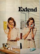 1974 Bell Telephone Extend Yourself Wall Phones Trimline Vintage Print Ad