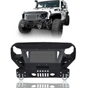 Off Road Front Bumper W/grill Guard And Winch Plate For Jeep Wrangler Jk 2007-2018