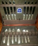 Gorham Sterling Camellia Flatware 1941-49 Pieces 8 Place Setting 1 Spoon Missing