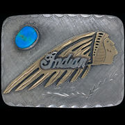 Indian Motorcycle Turquoise G Silver Scout Laughing Chief Biker Vtg Belt Buckle