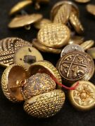 311 Brass Gold Tone Buttons Variety Mixed Lot Military Crest Antiques Sewing