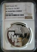 Tuvalu 1dollar 2020 Sliver Proof 1oz Coin James Bond 007 No Time To Die Ngc Pf70